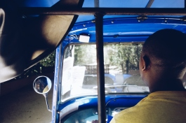 Inside the tuktuk, your best way to move into Diani