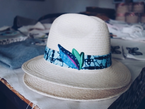 Hat with kitenge touch and embroidery