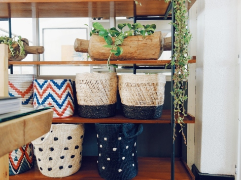Decor shop with baskets made by Rwanda Clothing