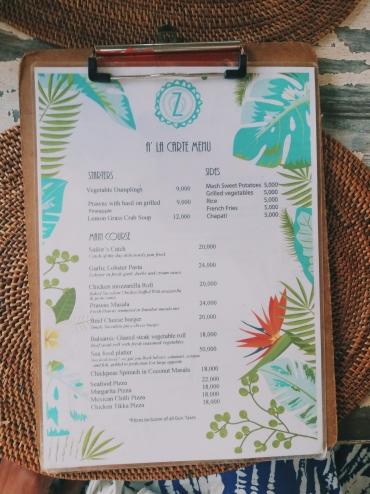 Zafarani menu
